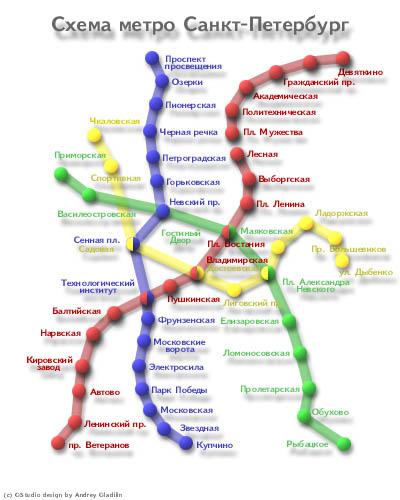 новая; а-ля 3D схема спб метро